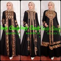 Ready new baju gamis abaya hitam bordir rompi terbaru original
