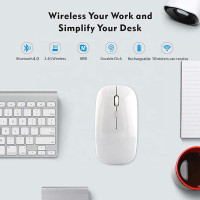 Mouse Bluetooth 4.0 Silent Slim Wireless 2.4G Mouse Rechargeable - White B4.0