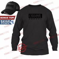 Kaos Distro Cardinal Casual Premium Black T-Shir Pria Lengan Panjang