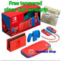 nintendo switch v2 mario red & blue / switch console mario