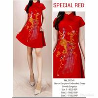 Dress terusan wanita cheongsam merah import baju fashion