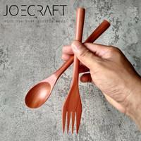 sendok set garpu kayu/sendok makan/sendok korea sujeo (sd25)