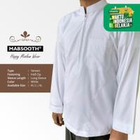 New! Baju Koko Resleting Pria Muslim Putih Polos Dewasa Lengan Panjang