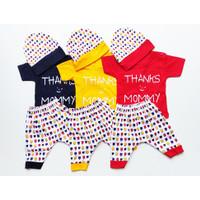 Baju Bayi Atasan dan Celana Free Topi Motif Karakter Thank's Mommy