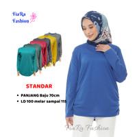 Kaos Wanita Lengan Panjang - Bahan Polo Lacoste -Standar - Biru, Standar.5