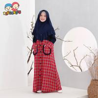 Baju Muslim Gamis Anak Perempuan Raggakids Rg49 Merah Usia 4 - 13 th
