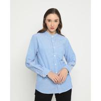 Kemeja Pria Erigo Long Shirt Cevan Katun Blue - M