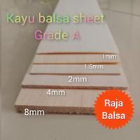 Kayu Balsa Sheet 4mm x 10cm x 1meter balsa super grade AAA untuk maket