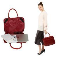 Tas laptop tenteng maroon 14inch kulit sintetis praktis dua sekat - Merah Maroon