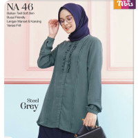 Nibras Atasan NA 46 Warna Abu Grey Daily Outfit Tunik Blouse Busui Ori