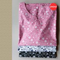Atasan Blouse Katun Motif Bunga Big Size - Baju Wanita Kemeja Blus