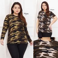 Kaos Wanita Jumbo Army LD 110 XXL Atasan Baju Spandex Motif Loreng 2XL