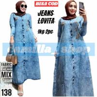 Parsel Ramadan Gamis Jeans terbaru LOVITA Baju Maxi dress Jins Muslim
