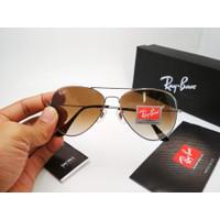 Kacamata Rayban Aviator 3026 frame silver lensa kaca coklat gradasi