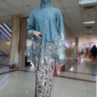 Kebaya Tunik Tille Busui KOMBINASI BORDIR 2 WARNA TWO TONE Modern S - SET BIRU TOSCA, M