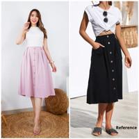 Rok Gummi vintage style big button A line midi skirt (ada karet) 2401