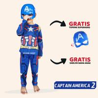 Baju Anak Captain America Setelan Kostum Superhero Cosplay Topeng