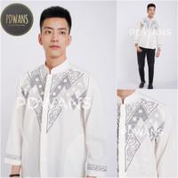 Baju Koko Lengan Panjang Putih Tulang Kemeja Koko Bordir ALSPJG21