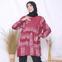 Baju hamil menyusui atasan busui - Meira Blouse - Red Velvet, L/XL