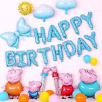 Balon set peppa pig paket balon aksesoris dekorasi ulang tahun peppa - Biru Muda