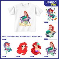 Princess Ariel The Little Mermaid - Kaos / Baju Anak Gratis cetak nama - 0, Lengan Pendek
