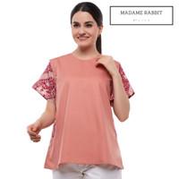 Baju Kerja WFH Batik Casual Madame Rabbit Warna Pink Merah Katun Adem - XL