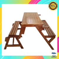 Kursi Meja Lipat Bangku Kayu Jati Untuk Taman / Resto / Cafe Outdoor