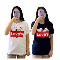 Kaos atasan ABG / dewasa perempuan allsize LD 94 x 67 Snoopy Love - Putih, All Size