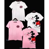 Kaos atasan ABG / dewasa perempuan allsize LD 94 x 67 Mickey Ledek - Putih, All Size