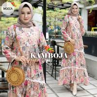 baju muslim gamis wanita kamboja katun rayon motif bunga real pict