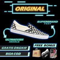 Vans Slip On Checkerboard Pro Black White Original Sneakers Vans Ori