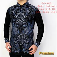 Baju Kemeja Batik Slimfit Pria Lengan Panjang HITAM BIRU Hem COWOK