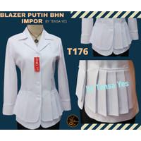 T176 Seragam blazer kantor putih atasan saja bhn impor by Tensa Yes - 4XL