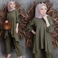 Stelan Gamis Setelan Atasan+Celana Panjang Baju Muslim Modern SS