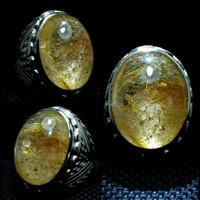 cincin batu akik kecubung serat emas ( rambut cendana )