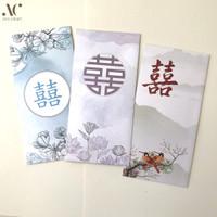 (isi 3) Amplop Sumbangan Angpao Hongbao Double Happiness Wedding 8x17