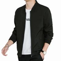 jaket pria cattun taslan import fashion casual - Hitam, S