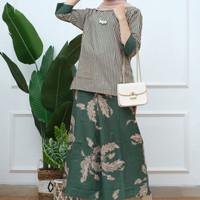 stelan batik wanita celana kulot kain katun