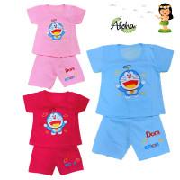 Baju Setelan Anak Perempuan Motif Doraemon Full Bordir