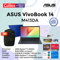 ASUS VIVOBOOK 14 M413DA - RYZEN 5-3500U 8GB 512GB SSD 14 FHD W10 OHS