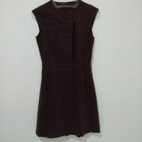 dress kerja tanpa lengan selutut warna coklat baju terusan wanita