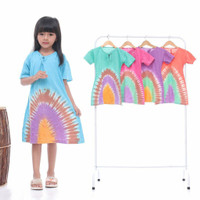 daster kaos anak tiedye pelangi dress anak baju tidur anak perempuan
