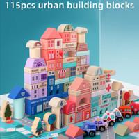 Mainan Balok Kayu Edukasi Anak City Building Blocks - CBB 155 PCS