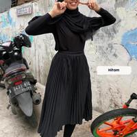 Rok termurahJumbo Plisket Pendek Wanita 7/8 / Rok Payung Wanita - Hitam