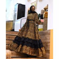 gamis macan leopard loreng baju muslim wanita muslimah pesta seragam