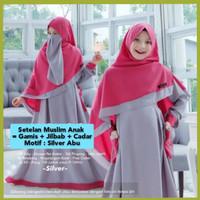baju muslim gamis+jilbab+cadar anak perempuan 7-12thn fusun silver abu