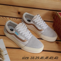 sepatu vans old skool putih strip coklat import quality