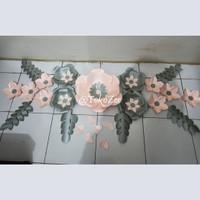 paper Flower Backdrop set 3 dan tulisan /Dekorasi Lamaran