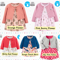 Dress Kardigan Bayi Anak Perempuan /Baju Pakaian Bayi Baru Lahir Impor