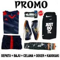 ( PAKET KOMPLIT ) Sepatu Futsal Adidas X paket komplit - nike hitam5, 39